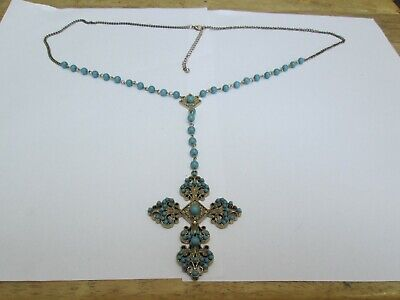 Gold Coloured Chain Necklace  And Cross With Turquoise Coloured Beads.