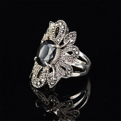 Gifts Black Women Agate Stone Flower Shape Hollow Out Silver Zircon Punk Ring