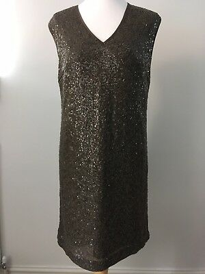 M&S Autograph Sequin Dress Size 12 Brown Party NWT RRP £75 Knee Length