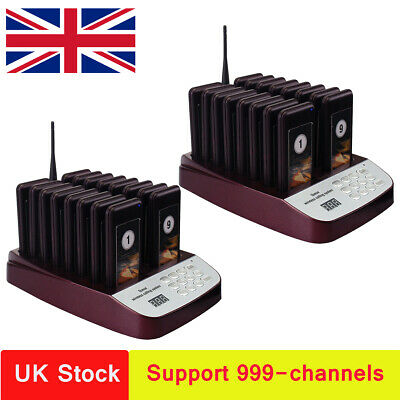 2*T113 Restaurant Wireless Paging Queuing System 999CH w/ 32*Coaster Pager UK