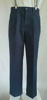 Dockers Blue Pleated Tapered Leg Cotton Golf Trousers Khakis W34 L31.5 KH07