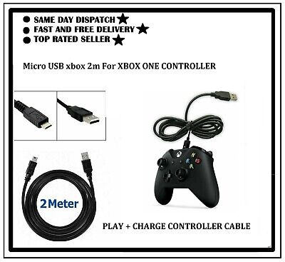 2 Meter Long Micro USB Charger Cable For Xbox One 1 Controller Play & Charge