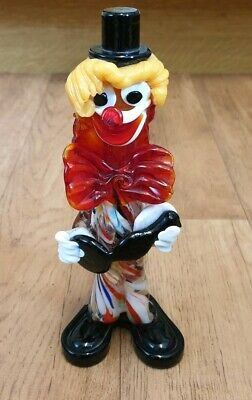 "Vintage Italian Murano 8.5"" Inch Glass Clown Ornament Figurine Multicoloured"