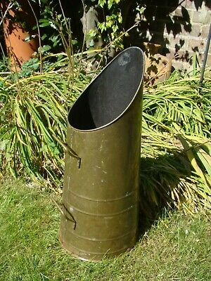 Vintage Large Solid Brass Coal Scuttle Open Fire Place Garden BBQ Stick Stand