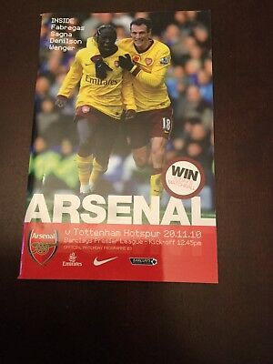 Arsenal v Tottenham Hotspur Match Programme, Premier League 20/11/10
