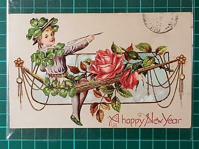 1900`s Antique Fantasy New Year Postcard Flower Girl Embossed Used with Stamp