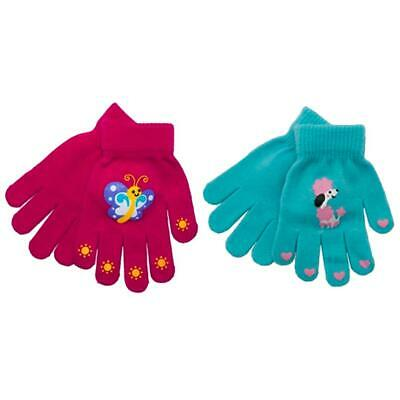 2 x RJM Kids Girls Thermal Magic Winter Gloves One Size Assorted Colours