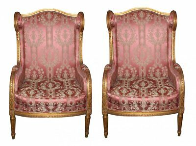 French Louis XVI 19th C Carved Giltwood Bergere Armchairs or Accent Chairs