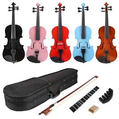 1/8 Splint Bright Acoustic Violin Fiddle with Rosin Case Bow Muffler Kits G17#