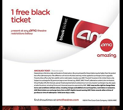 AMC Black Movie Tickets - printed and shipped!