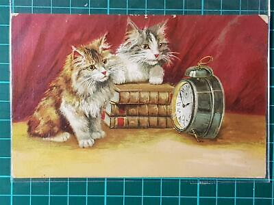 1900`s Antique Art Fantasy Greetings Cute Postcard Cats Waiting for Ring Popular