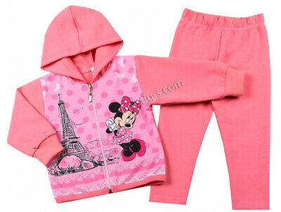 Kids Girl Tracksuit Set Minnie Mouse 2 Parts Long Sleeve Pants Hood Cotton Pink