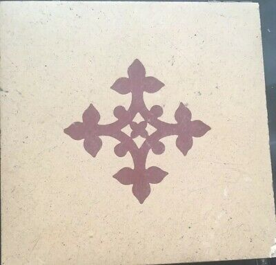 """Rare 8"""" Minton Encaustic Tile From St Stephen's Hall - 1850s Barry & Pugin"""
