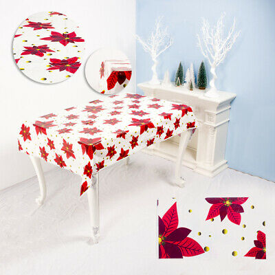 Qu_ Sweet Tablecloth Merry Christmas Waterproof Dinning Table Cover Cloth Decor