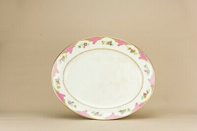 1910 Pink Platter Burgess Leigh Floral Dish Serving Plate Large Antique English