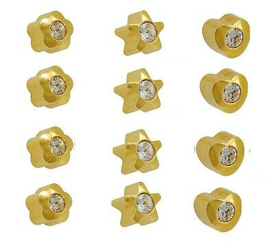 24 carat Gold Plated Earrings Surgical Steel Ear Piercing Studs- Crystal Shape