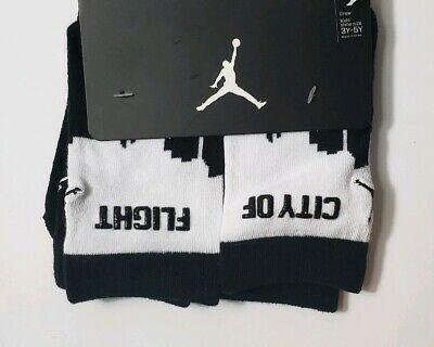 Nike Air Jordan Crew Kids Boys Girls Socks 2 Pack Size 3Y - 5Y