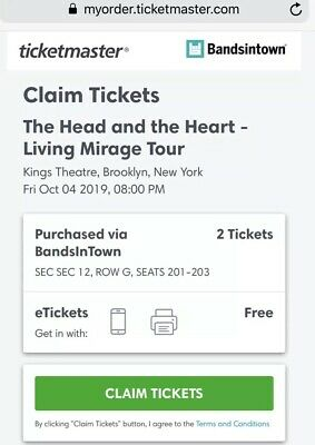 2 Tickets The Head and The Heart 10/04/19 Brooklyn, NY