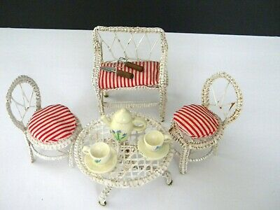 Vintage Miniature Dollhouse White Wicker Garden Furniture Table Chairs Bench