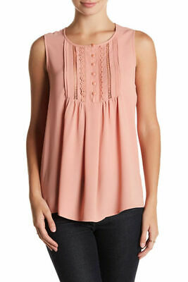 NW-Defect  Nordstrom Pleione Women Sleeveless Lace Front  Blouse Top Salmon XS