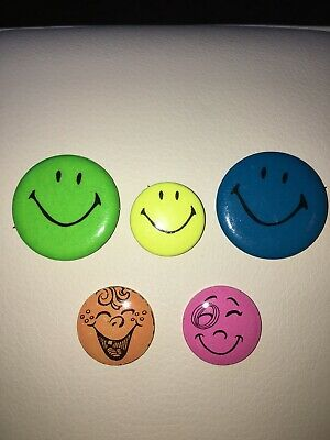 Vintage Smiley Face Button Pins 1970s, USA, Including 2 Creative House Pins