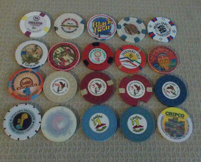 LOT OF 20 MIXED DENOMINATIONAL CASINO hotel gaming chips~Various Locations (#8)