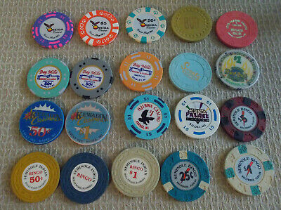 LOT OF 20 MIXED DENOMINATIONAL CASINO hotel gaming chips~Various Locations (#1)