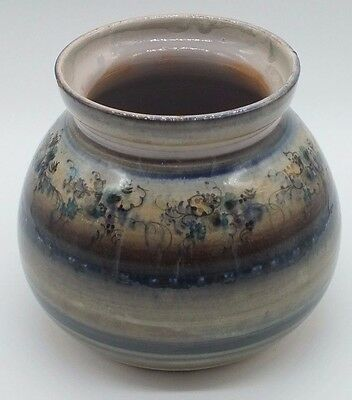 Vintage Hand Painted Ceramic Stoneware Vase Studio Pottery Art Pottery - Signed