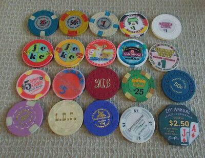 LOT OF 20 MIXED DENOMINATIONAL CASINO hotel gaming chips~Various Locations (#2)