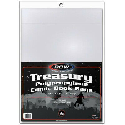 (5) Bcw Treasury Comic Book 2 Mil Soft Poly Storage Bag Display Holders