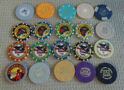 LOT OF 20 MIXED DENOMINATIONAL CASINO hotel gaming chips~Various Locations (#3)