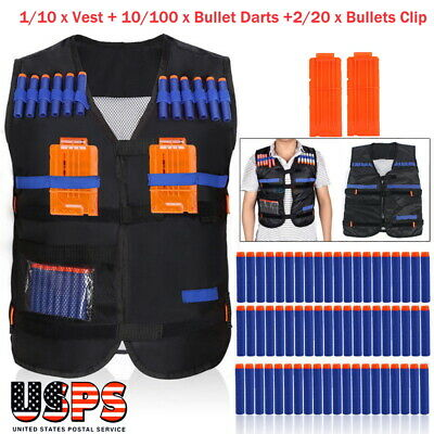1-10X Tactic Vest+10-100X Bullet Darts+Bullets Holder For Kids Toy Gun Gift