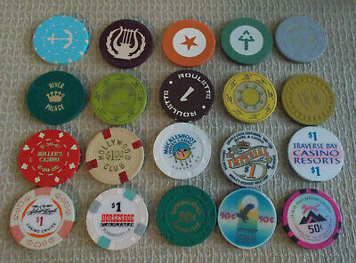 LOT OF 20 MIXED DENOMINATIONAL CASINO hotel gaming chips~Various Locations (#4)