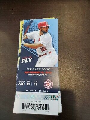 St. Louis Cardinals Nationals MINT Season Ticket 9/18/19 2019 MLB Stub