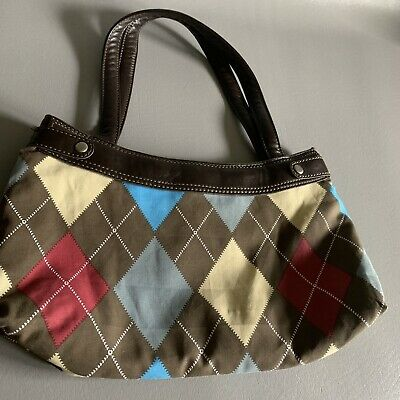 thirty one skirt purse Brown With Multicolored Argyle Cover Red Tan Gray Retired