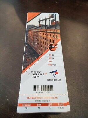 Baltimore Orioles Toronto Blue Jays MINT Season Ticket 9/18/19 2019 MLB Stub