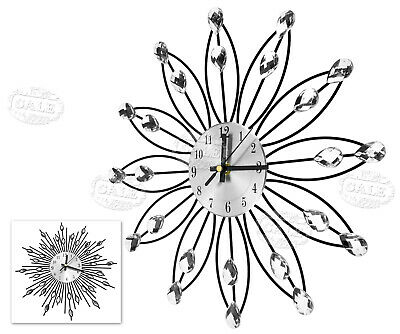 Handcrafted Diamante Jewelled Crystal Daisy Silver 33cm Wall Clock New