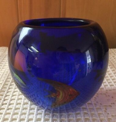 Vintage Murano Cobalt Blue Tropical Fish Aquarium Art Glass VASE