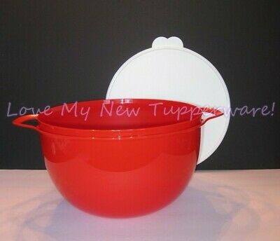 Tupperware Thatsa Bowl Mixing Storing Serving 42-cup Chili Red w/White Seal New