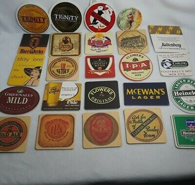 Lot of 24 Used Beer Advertising Coasters Mats Mixed Lot *No Duplicate*
