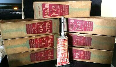 Antique Medicine Pharmacy Display Lot Of 7: Manzan For Piles Salve,Tubes,Nozzle