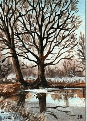 "aceo original acrylic painting ""A Frosty Morning"" by J. Hutson"