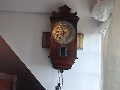 Victorian Wall Clock Lead Faced Dial And Weights For Renovation