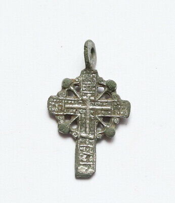 Authentic Late Medieval Era Silvered Radiate Cross Pendant - Wearable