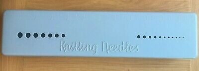 Vintage Bex Blue Bakelite Knitting Needle Box With Integrated Gauge.