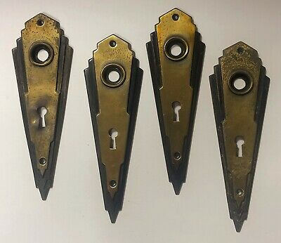 Vintage Art Deco Brass Entry Door Plates Locks & Hinges Antique Hardware LOT