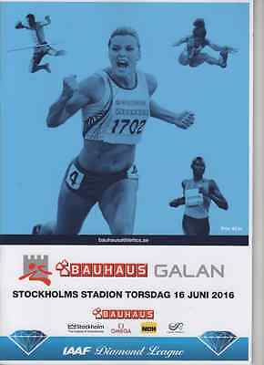 2016 Stockholm BAUHAUS-Galan Programme: IAAF Diamond Lg: Athletics/Track & Field