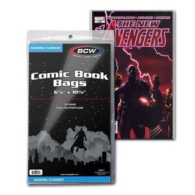 (5) Bcw Comic Book Current Modern Age 2 Mil Soft Poly Storage Display Bags