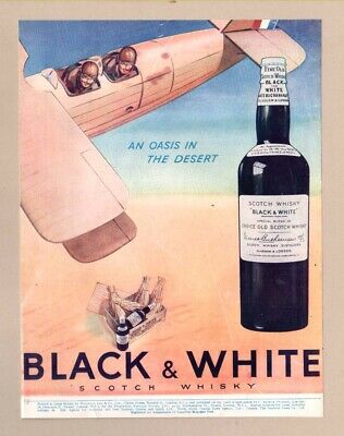 "BUCHANANS ""BLACK & WHITE"" SCOTCH WHISKY ~ Aircraft  (1936 Advertisement)"