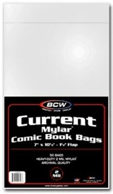 (10) Bcw Comic Book Current Modern Age 2 Mil Mylar Storage Bags
